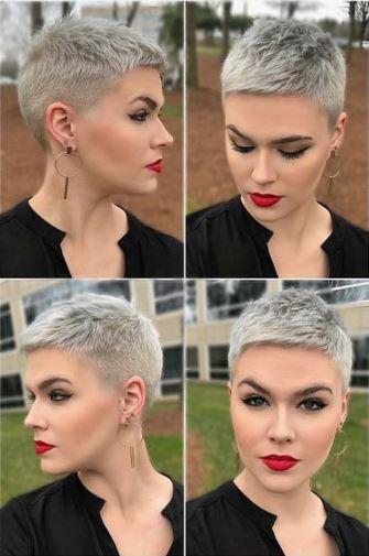 taglio capelli corto colore grigio donna